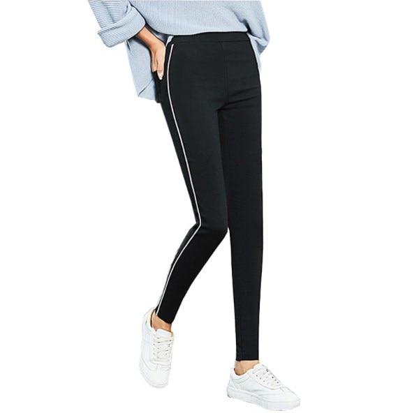 striped asymmetric tunic tee with pockets Spring Autumn Womens Black Skinny Leggins Women Side Striped Leggings with Pockets Ankle Length Leggins Stretch Pencil Pants
