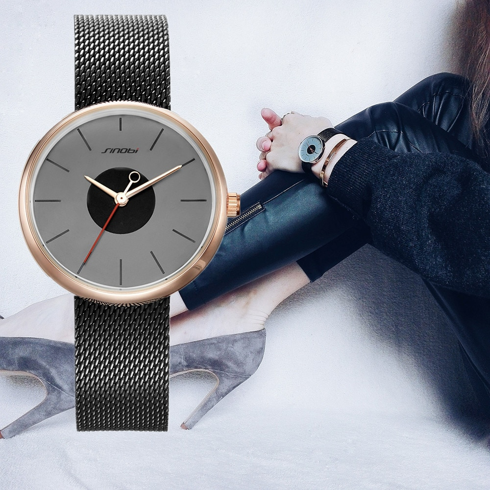 Relógio de Sinobi Relógio de Aço Ultrafino Mulheres Relógios Senhoras Inoxidável Pulseira Relógio Feminino Montre Femme 19