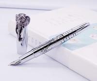 fuliwen fountain pen elephant head on cap delicate silver signature pen medium nib business office home school supplies