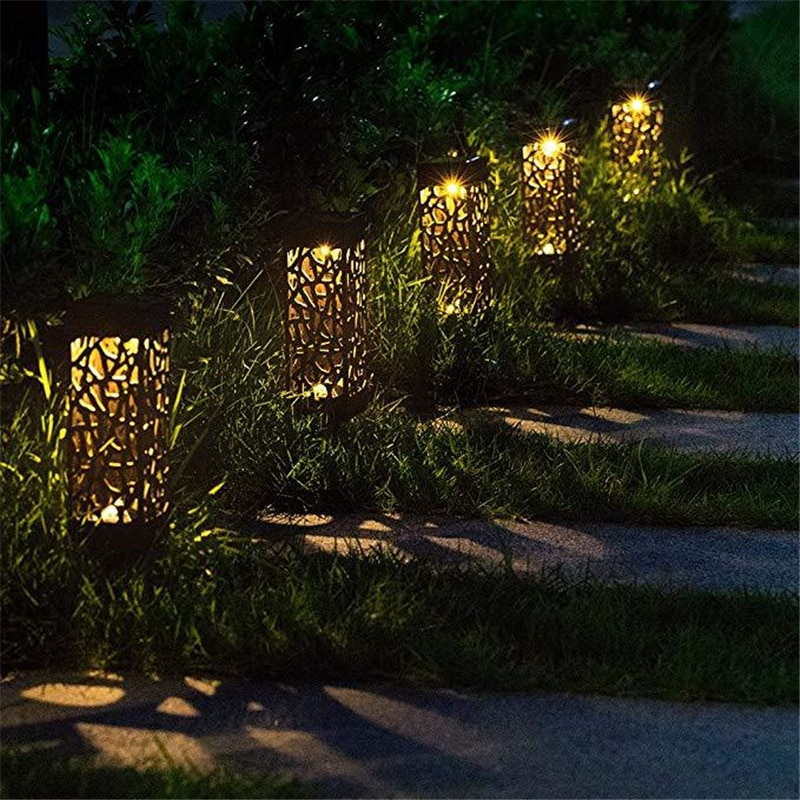 6 pcs solar led pathway driveway light dock path step road safety marker white blue red light Outdoor LED Solar Powered Path Stake Lanterns Lamps Garden LED Carved Lawn Light Solar Light Pathway