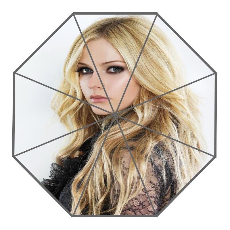 ¡Novedad! Paraguas de lluvia plegables de alta calidad con diseño creativo de Avril lavigne personalizados