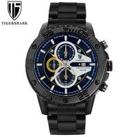 TIGERSHARK Men Watch Chronograph Stainless Steel Sports Watches Luminous 30M Waterproof Fashion Watch With Gift Box