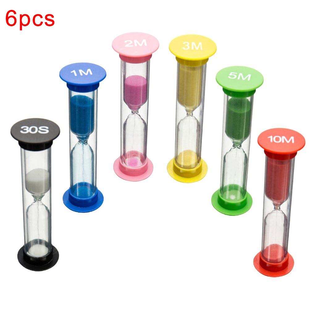 6Pcs Kid 6 Colors Classroom Game Sand Clock Timer montessori Toys Hourglass Sandglass Home Decor toys for children dla dzieci недорого