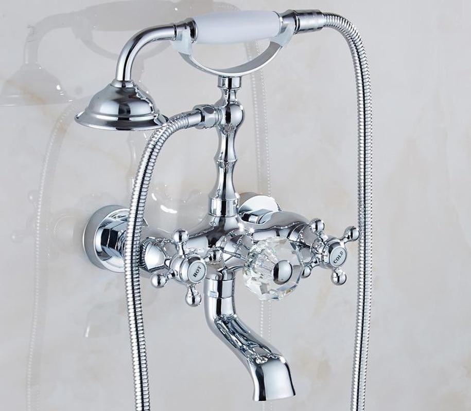 Ванная комната Роскошный металлический кран для ванной античная Хрустальная настенная телефонная ручка европейский стиль латунный душево...