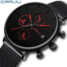 Mens Frauen Stoppuhren CRRJU Einzigartige Design Luxus Sport Armbanduhr Edelstahl Mesh-Armband Herrenmode Casual Datum Uhren