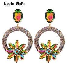 NeeFu WoFu goutte résine boucles doreilles marque cristal boucle doreille grande boucle doreille grande longue Brinco oreille accessoires Oorbellen cadeau de noël