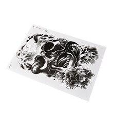 Cool Grote Arm Lichaam Tatoeages Sticker Zwart Enge Schedel Waterdichte Tijdelijke Tattoo