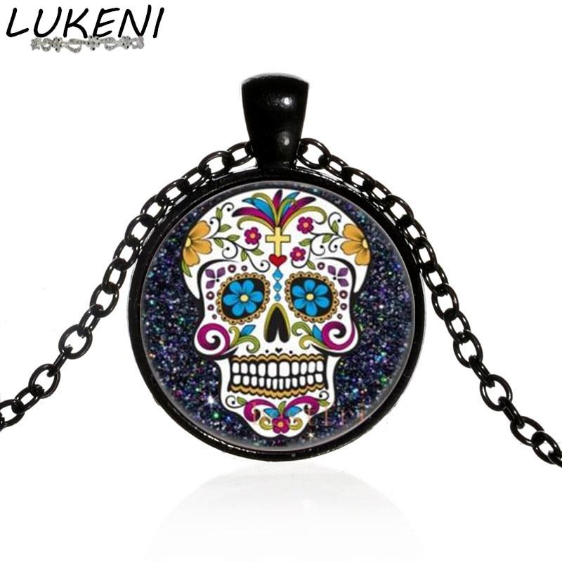 Collar con colgante de calavera de azúcar mexicana para el día de la muerte, cadena negra, esqueleto de azúcar, joyería de cristal, collar clásico XL152