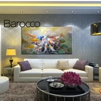 hand painted modern abstract oil painting on canvas chinese style 9 fish no stretched home decoration for living room