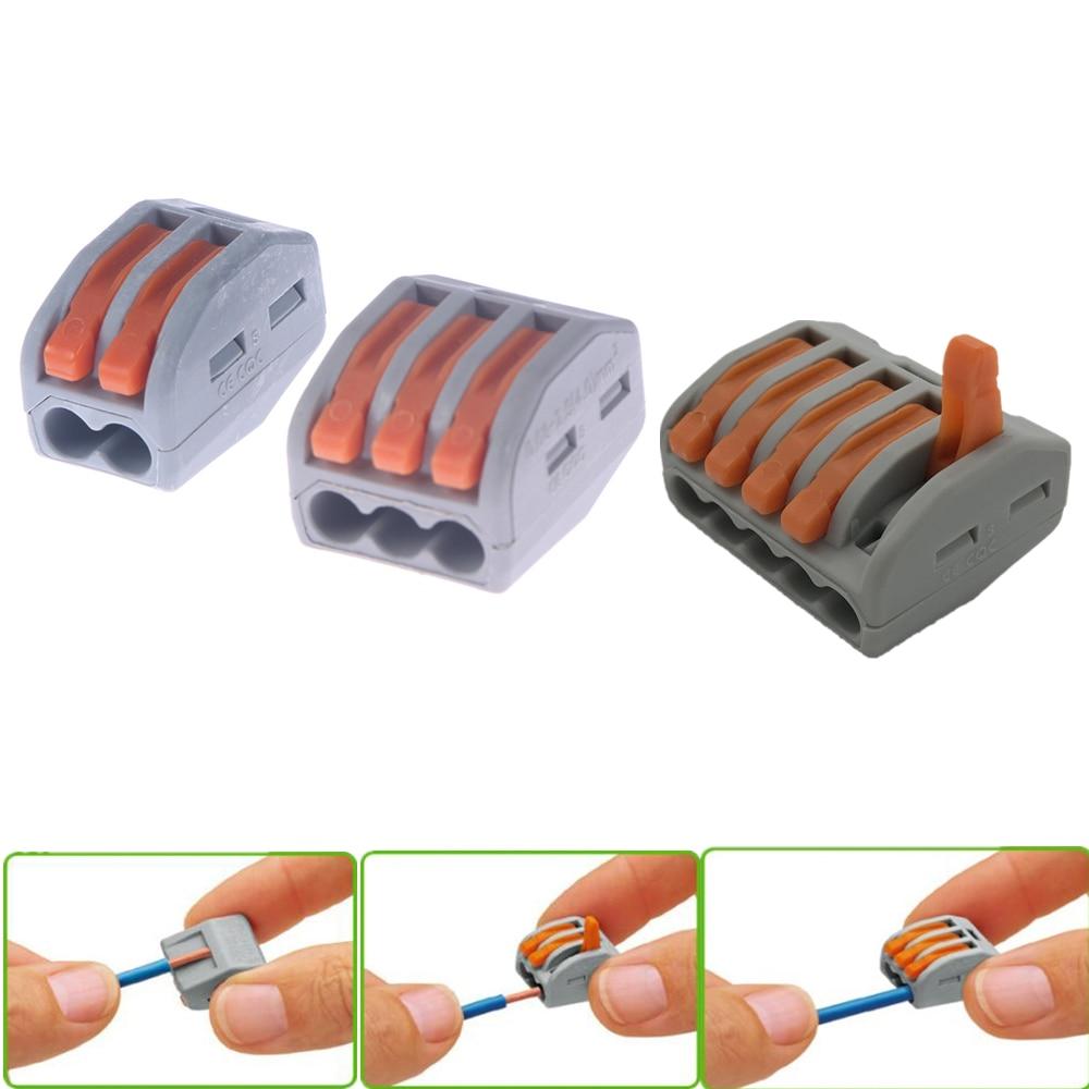 2/3/5 pines resorte palanca bloque Terminal Cable eléctrico Cable conector reutilizable hogar herramientas pequeñas suministros