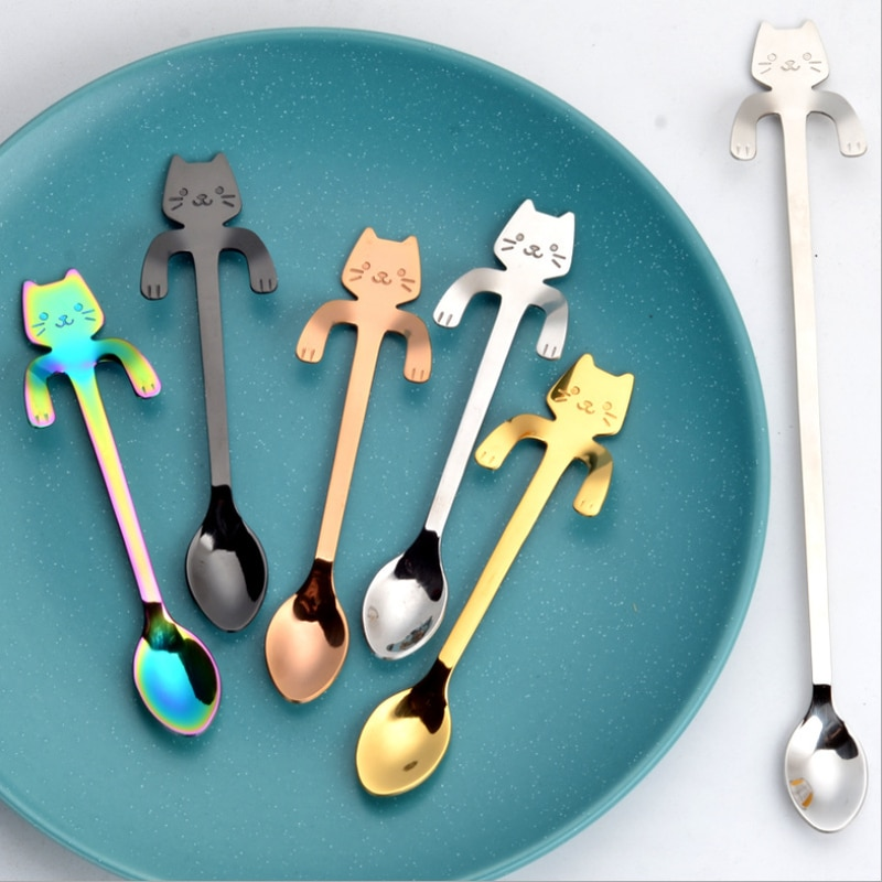 1 pçs bonito pequenos gatos colher longa utensílios de cozinha utensílios de cozinha presente criativo colher acessórios de cozinha utensílios de cozinha. j