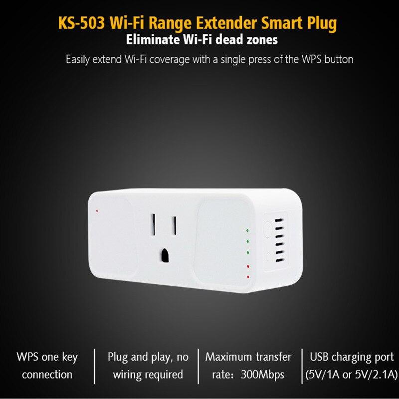 KS-503 Wi-fi Extensor De Alcance Wi-fi Tomada Inteligente, Mini Lojas de Trabalho com Alexa Tomada Inteligente, INICIAL do Google, IFTTT Porta USB, Controle App