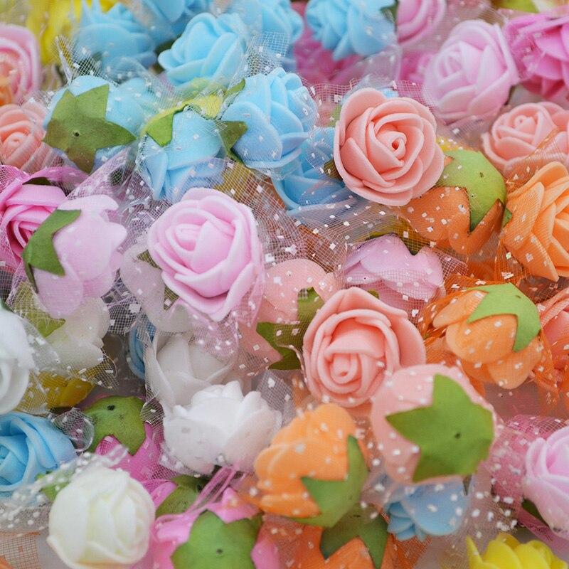 50pcs 2cm Mini PE mousse Roses fleurs artificielles pour fête de mariage décoration de la maison bricolage ours en peluche couronne artisanat fleur Bouquet