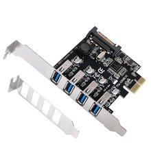 4 Ports USB 3.0 à PCI Express carte dextension USB 3.0 PCI-e contrôleur Hub pour ordinateur de bureau avec support à profil bas de 8 cm
