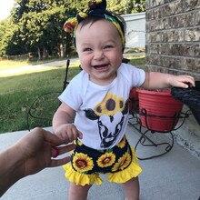 Bebê da criança meninas em torno do pescoço manga curta dos desenhos animados impresso vaca macacão blusa + girassóis calções florais outfits verão 2pice conjunto