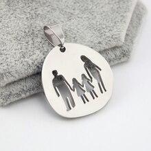 Collier père mère enfants bricolage   Collier de famille polonais haut, pendentif breloques en acier inoxydable, vente en gros