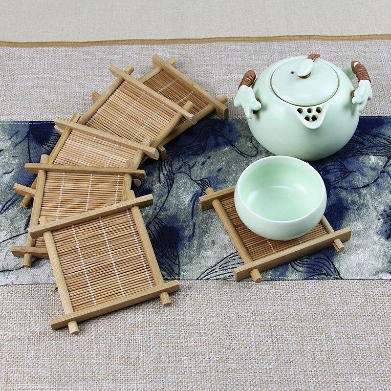 6 шт./лот ручной работы бамбуковый Китайский кунг-фу поднос для хранения воды поднос для хранения посуды чайный набор квадратный чайный аксе...