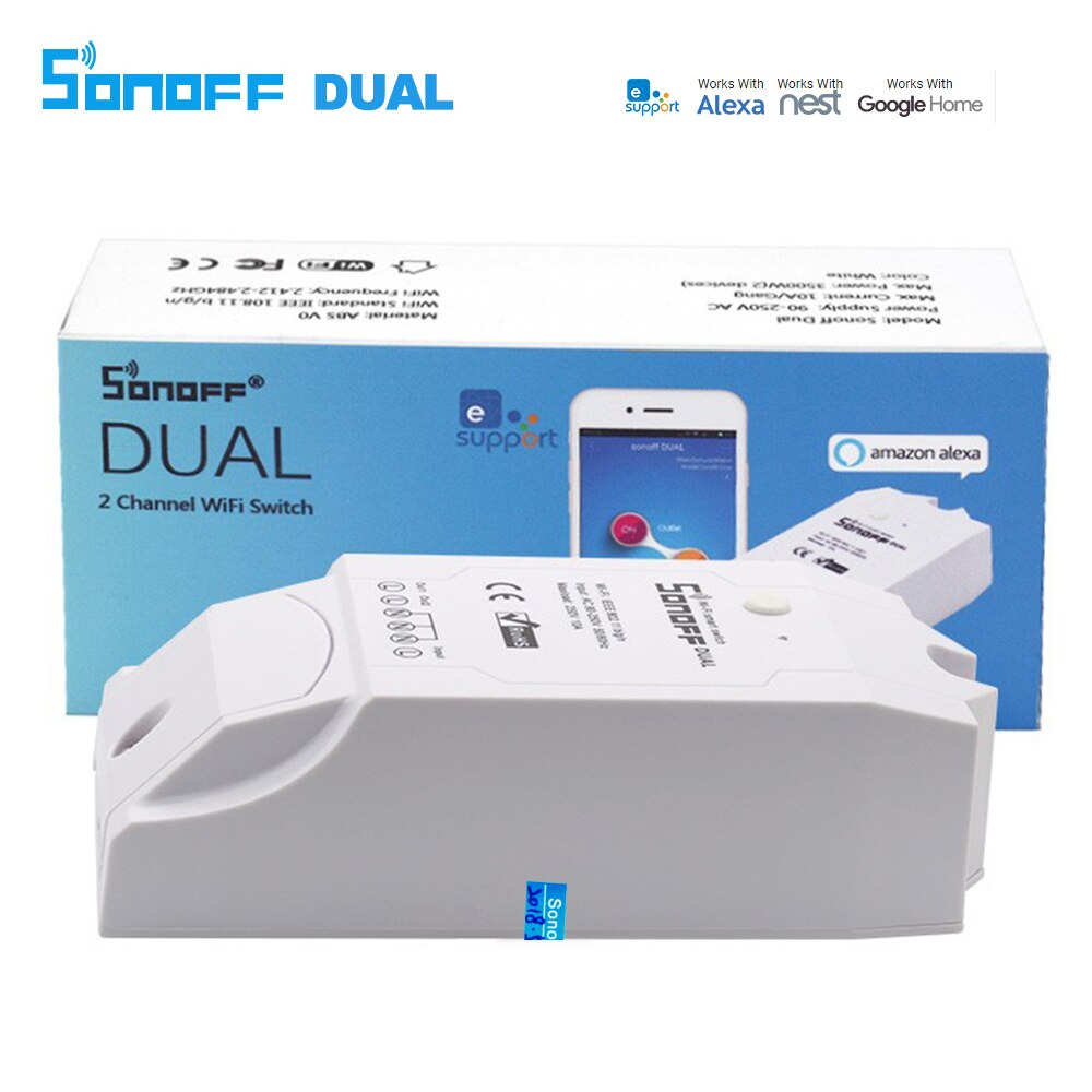 Sonoff duplo 2 canais wi fi sem fio interruptor de controle remoto casa inteligente temporizador inteligente via android ios app