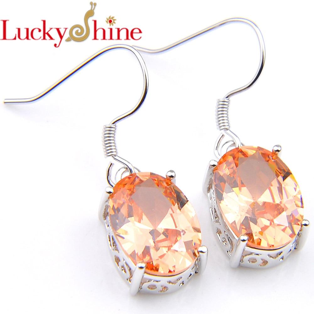 Pendientes de joyería Luckyshine de estilo real, gemas de circón color champán, pendientes colgantes de plata para mujer y chica, pendientes para bodas en Rusia