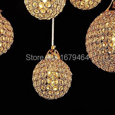 LED40W Amber crystal Golden Chandeliers with 8 Light Use for Living Room  - buy with discount