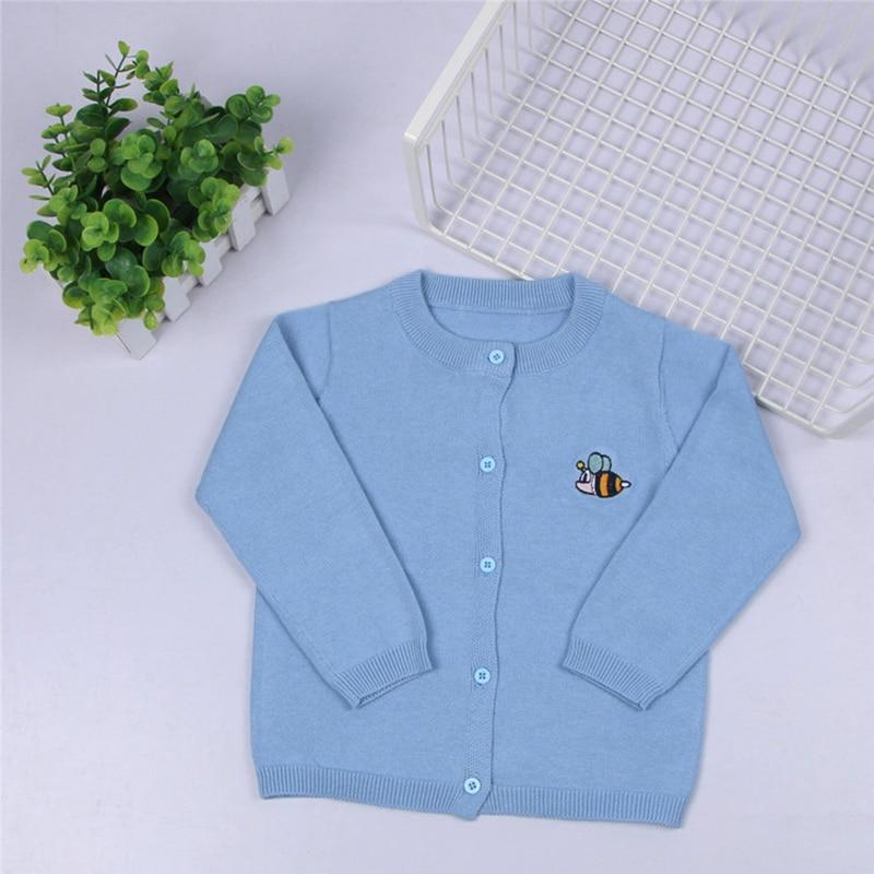 Bordado caliente Linda abeja niños Chaqueta de punto suéter niñas suave algodón niños otoño primavera suéter hermoso color caramelo baby lothing