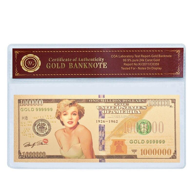 WR известная звезда США Мэрилин Монро бизнес сувенир подарки Красочные Позолоченные банкноты подарок для коллекции Искусство ремесло поста...