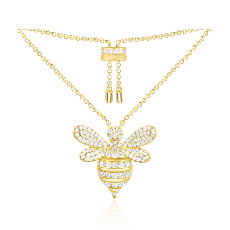Collar slzely de Plata de Ley 925 con colgante de abeja de Color amarillo dorado para mujer, joyería fina de circonita cúbica, Colección lventuriere