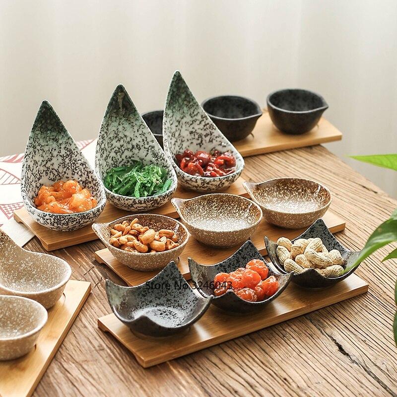 Creativo di ceramica di stile Giapponese piatto di Legno vassoio di snack di frutta secca piatto di caramelle Diviso salsa piatto piatto di salsa di piatto