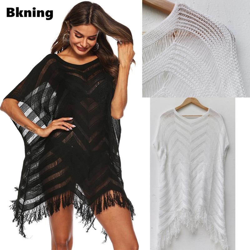 Tassel Woman Tunic Beach Dress Black Beachwear Swimsuit Swim Wear Dresses Womens Bathing Suit Cover Ups White Black V Style Sexy