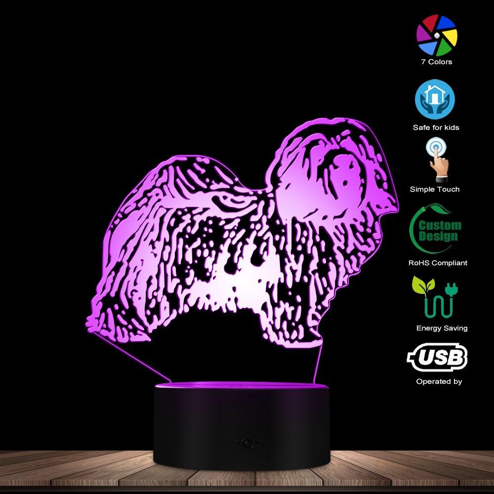 Bischon habanese Dog Breed 3D ilusión óptica noche Whiffet animales decoración de tienda de mascotas acrílico Creative lámpara de mesa Visual