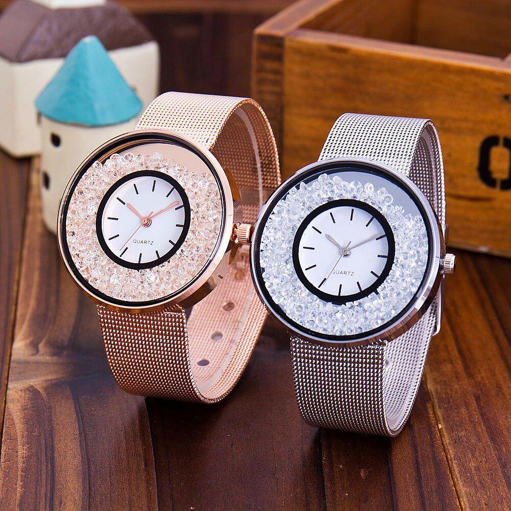 Women Watches New Fashion Stainless Steel Band Ladies Watch Quartz Wristwatch Luxury Rolling Rhinest