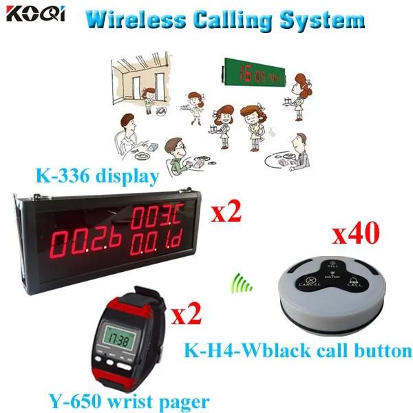Système d'appel de serveur, téléavertisseur de soins à domicile 433.92MHZ (2 écrans, 2 montres, 40 boutons d'appel)