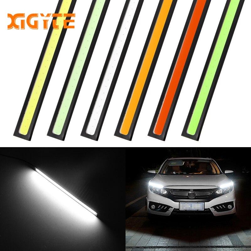 1 pçs 17 cm led cob drl luzes diurnas à prova dwaterproof água estilo do carro externo barra de estacionamento nevoeiro turno signal lâmpadas acessórios