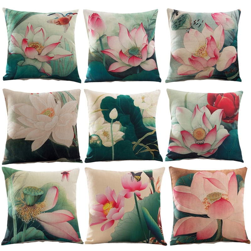 """Funda de almohada decorativa de lino y algodón de estilo Vintage con estampado de flores de loto funda de cojín para silla funda de cojín de sofá de viaje 18 """"X18"""""""