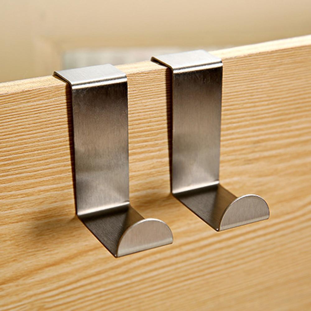 2PC Door Hook Stainless Steel Kitchen Cabinet Hanger Multi-purpose Bathroom Wall Hanging Storage Rack Bracket Kitchen Tools #10