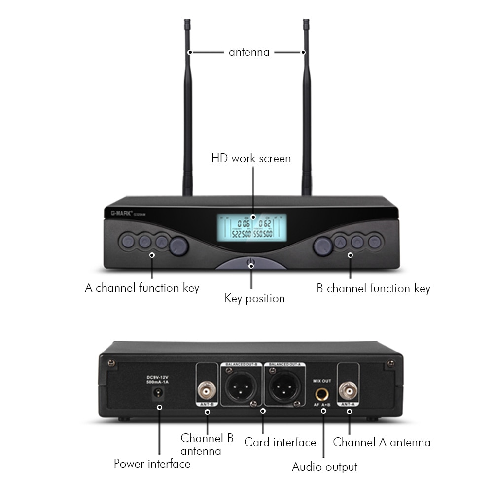Wireless Microphone G-MARK G320AM UHF 2 Channels Karaoke Handheld Frequency Adjustable For Party Stage Show 50M Use Distance enlarge