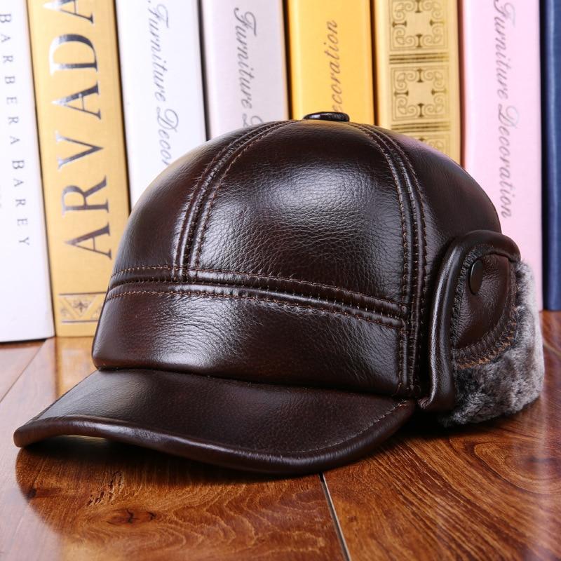Men's Baseball Cap Autumn Winter High Quality Cowhide Hat Male Warm Earmuffs Casual Leather Warm Cap Students Leisure Hat B-7257