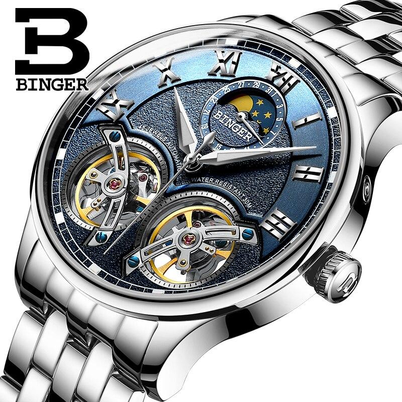 ساعة يد جلدية للرجال ، توربيون سويسري مزدوج ، أوتوماتيكية ، قابلة للرياح ، أزياء ميكانيكية