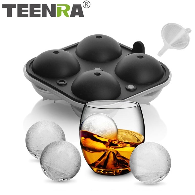 TEENRA 2,5 Zoll Ice Ball Mold Silikon Ice Cube Mold Große Größe Whisky Eis Kugeln Silikon Form 4 Hohlraum Ball maker