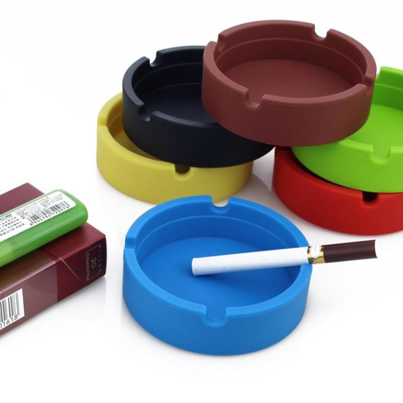 Creative Portable Rubber Silicone Round Ashtray Durable Soft Eco-Friendly Ashtray Ash Tray Holder 4 Colors Home Supplies