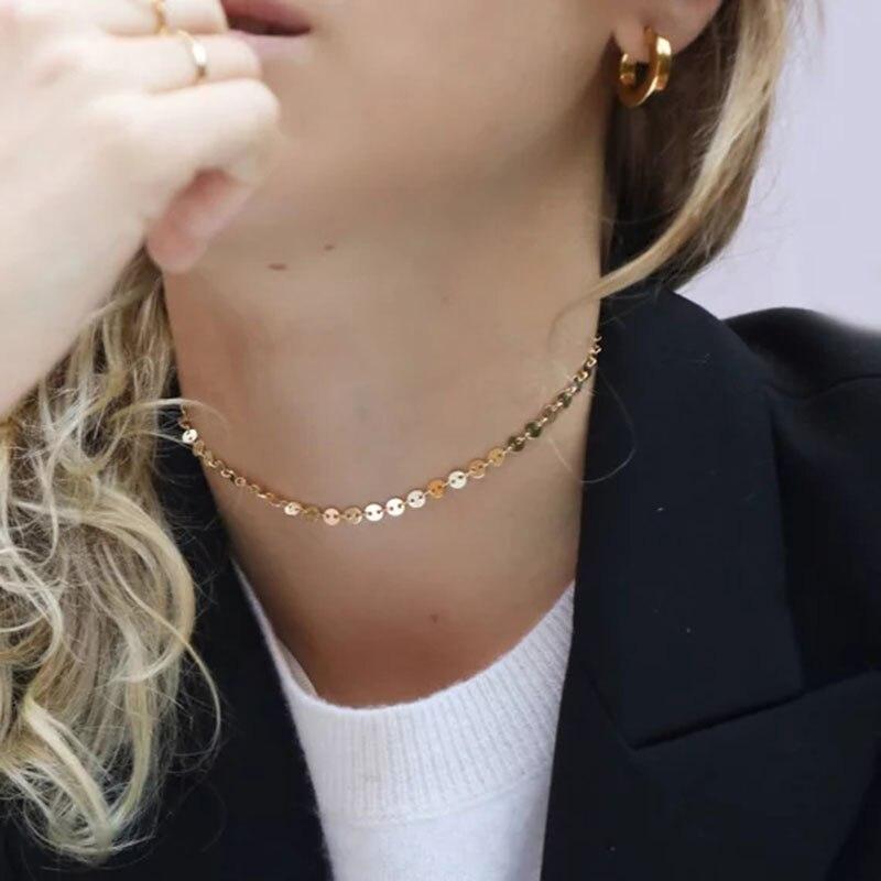 Collar de plata 925, collar de moneda de Gargantilla rellena de oro, colgantes de collar, joyería, collar de mujer, collar de Kolye, collar bohemio