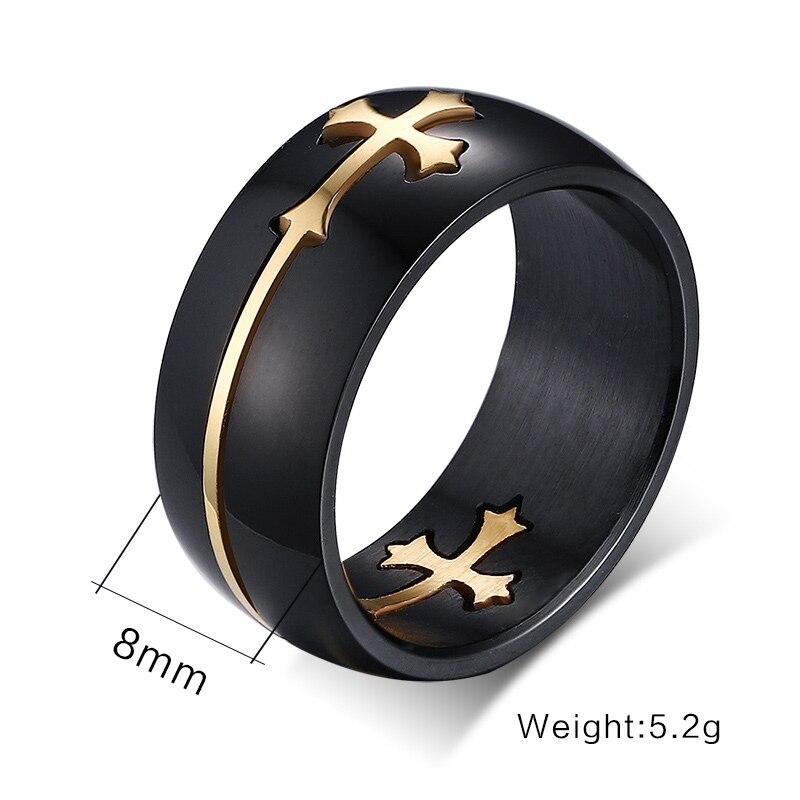 Anillo cruzado de acero y titanio que nunca se decolora, Cruz de Oro, joyería de Jesús, anillos para hombre, joyería negra, regalo punk
