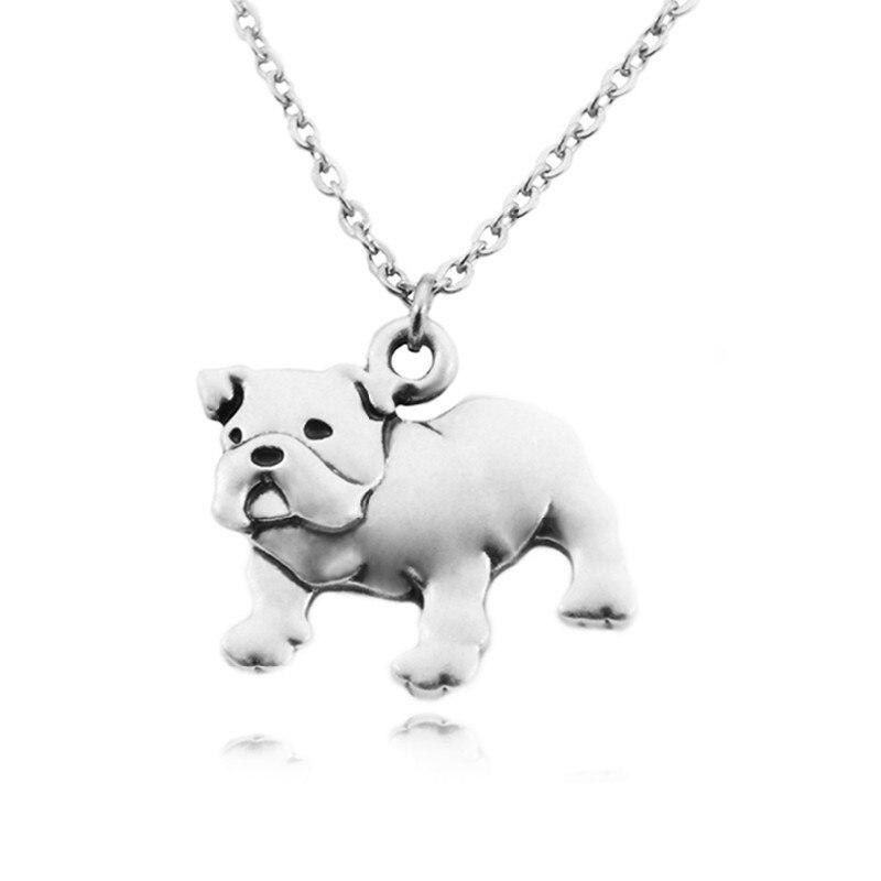 Collar largo de Bulldog Inglés con cadenas largas de acero inoxidable, Color plata Vintage, colgantes de perro, collar para hombre, collar para mujer, collar para mujer