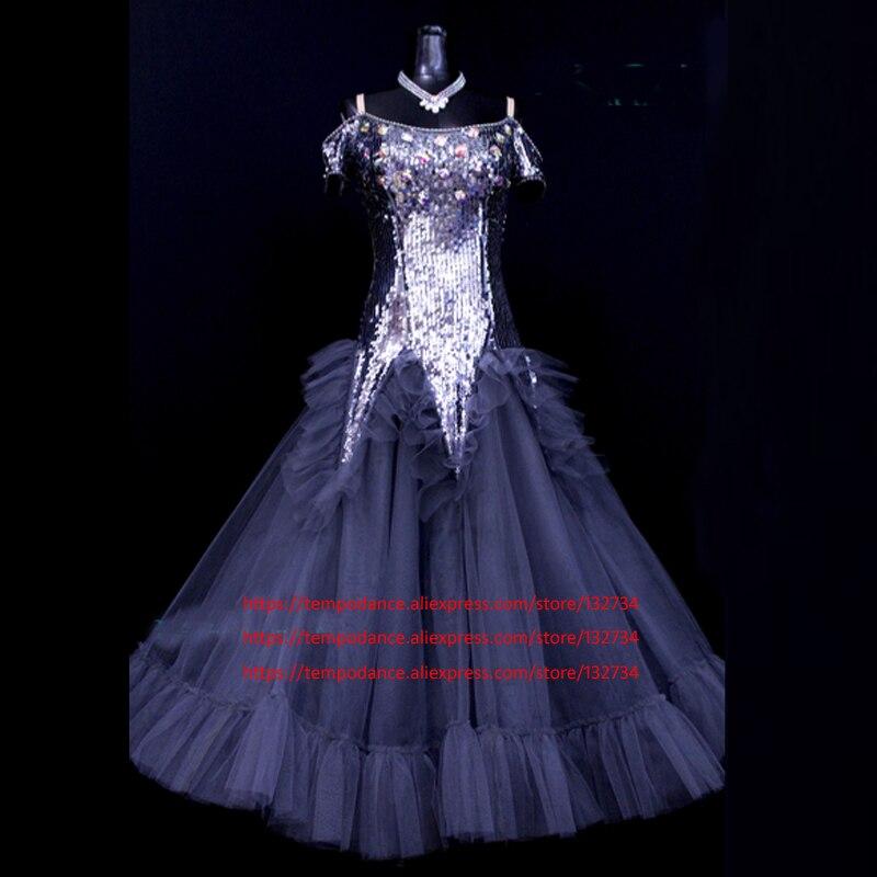 فستان رقص رمادي للنساء ، زي قاعة الرقص ، قياسي ، أداء مسرحي ، ثوب مسابقات ، فالس تانغو ، حديث