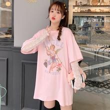 Angel Printed T-shirt Women Short Sleeve O-neck Loose Top Tee New Fashion Summer Harajuku Casual Female T-shirt Black Pink White