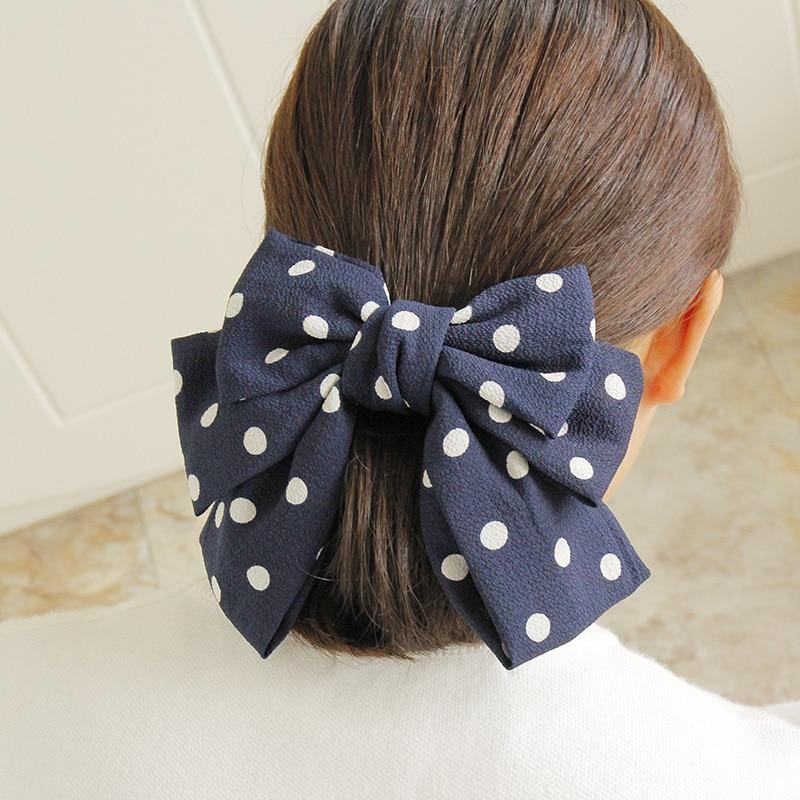 Awaytr grande moda veludo cetim barrettes para mulheres meninas fita do cabelo laço laço faixa de cabelo na moda doted hairpin grampo de cabelo