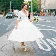 Vintage thé longueur 50 s robes de mariée courtes avec manches col en V Sexy 1950 s informel pays jardin Boho robes de réception