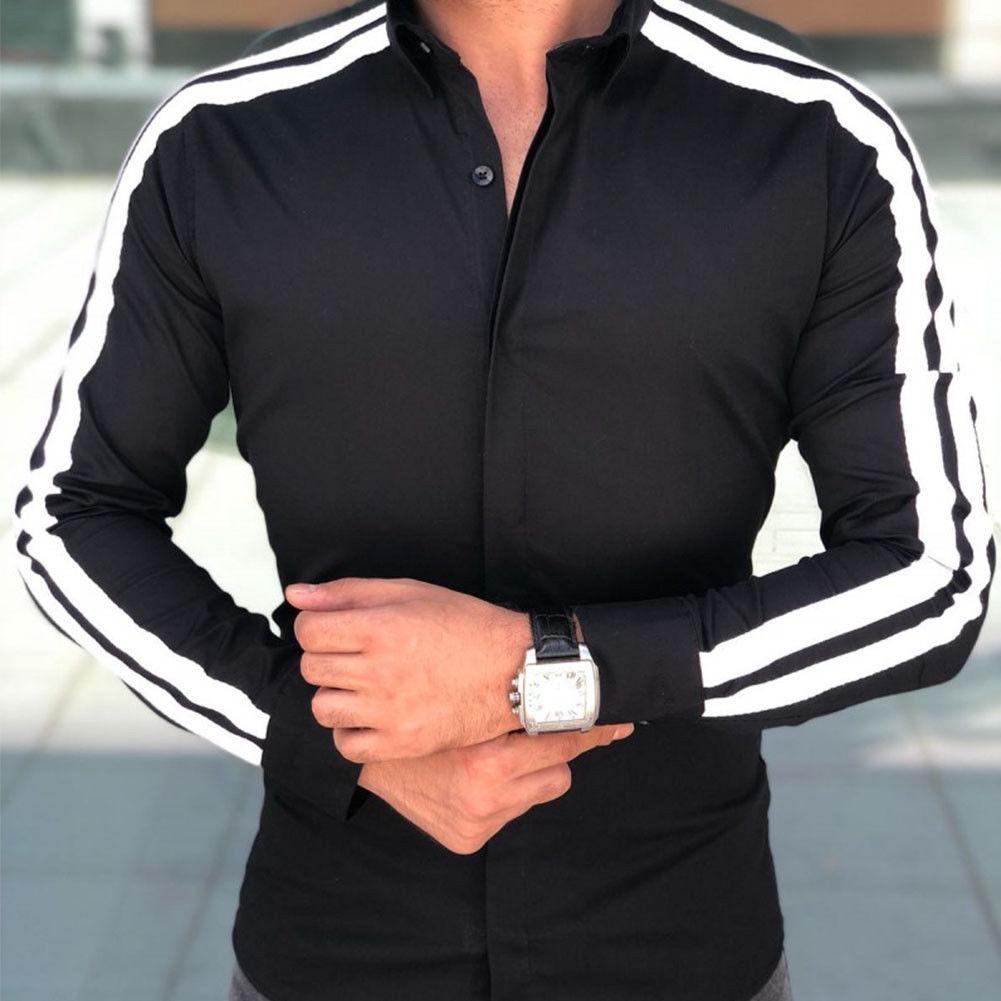 2018 wiosna jesień funkcje koszule męskie koszula na co dzień nowy nabytek z długim rękawem luksusowe Casual Slim Fit koszule męskie