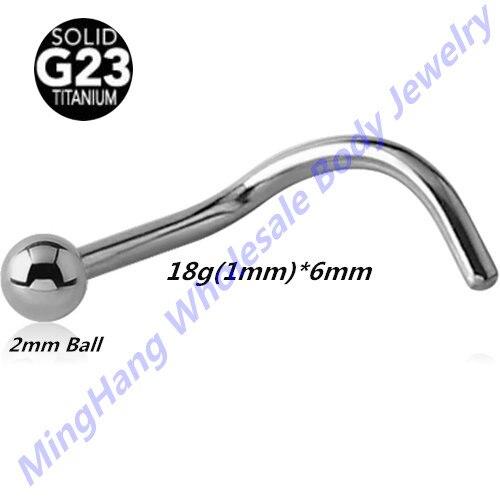 High polished G23 Titanium 18 Gauge Nose Screw Ring Nose Stud Piercing Jewelry  20pcs/lot