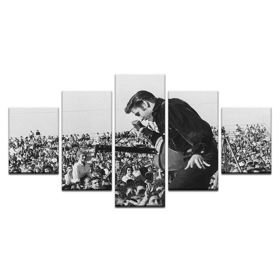 5 uds. Lienzo Vintage impresiones Evis Presli Elvis pintura pared arte paneles de decoración del hogar Poster fotos para la sala de estar Drop Shipping